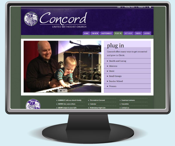 Concord United Methodist Church plug in page on a monitor