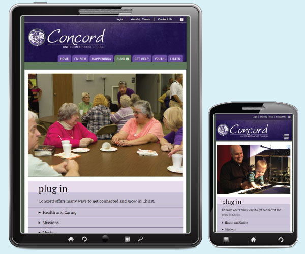 Concord United Methodist Church plug in page on a tablet and phone