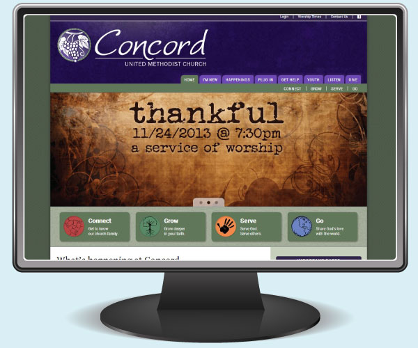 Concord United Methodist Church home page on a monitor