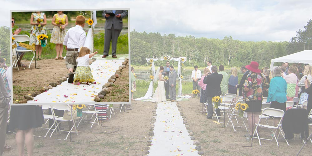 A flower girl falls down on her way down the aisle, and the ring bearer keeps pulling her.