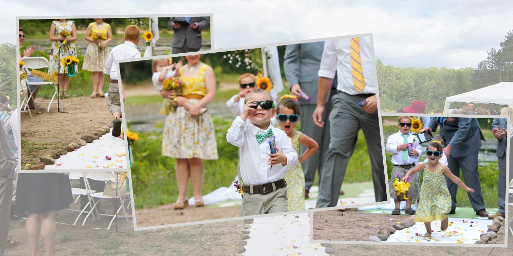 A ring bearer leaves the ceremony site with a bag of candy while the flower girl stands with her hands on her hips and yells at him.