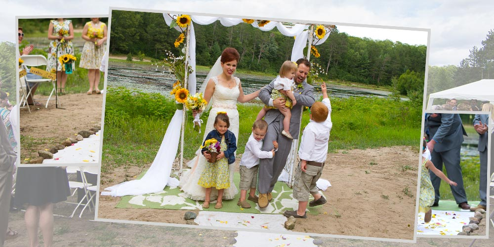 The bride and groom try to wrangle two flower girls and two ring bearers for group photos.